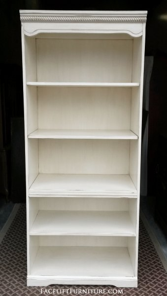 Large Bookshelf In Distressed Off White With Glaze Middle Shelf Adjule