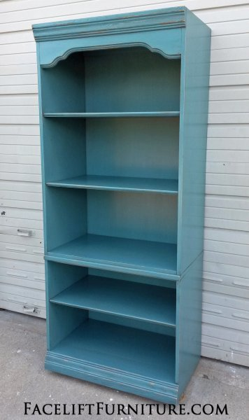 Cabinet Repurposed Into A Bookshelf In Distressed Sea Blue With Black Glaze