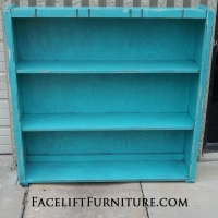 Hutch repurposed into a bookshelf. In distressed Turquoise with Black Glaze.