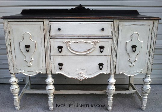 Chunky Antiqued Buffet in distressed Antiqued White, with Dark Brown top.  From Facelift Furniture's - Antiqued White Refinished Furniture - Facelift Furniture