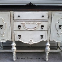 Chunky Antiqued Buffet in distressed Antiqued White, with Dark Brown top. From Facelift Furniture's Antique White Furniture collection.