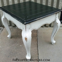 French End table with distressed Black & Antiqued White. From Facelift Furniture's Antique White Furniture collection.