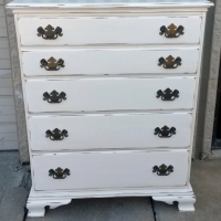 Maple Chest of Drawers in distressed Antiqued White with light Tobacco Glaze.  Original pulls. From Facelift Furniture's Antique White Furniture collection.