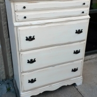 Maple Chest of Drawers in distressed Antiqued White with light Tobacco Glaze. From Facelift Furniture's Antique White Furniture collection.