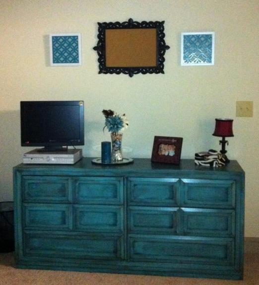 Cheyenne Custom Ordered This Dresser From Our Inventory. Painted Turquoise,  Distressed And With Heavy