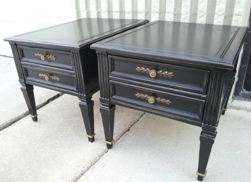 End Tables Custom Painted Black, With Light Distressing Of Edges. From  Facelift Furnitureu0027s End