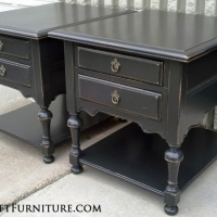 Distressed Black Ethan Allen End Tables. From Facelift Furniture's End Tables collection.