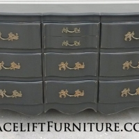 French Provincial Dresser in distressed Black. Original pulls. From Facelift Furniture's Dressers collection.