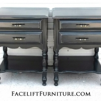 Matching nightstands custom refinished in distressed Kettle Black. From Facelift Furniture's Nightstands collection.