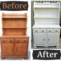Antiqued White Maple Hutch - Before & After
