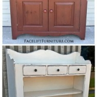 Off White Pine Hutch - Before & After