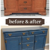 Before & After - Maple cabinet in distressed Denim Blue with Black Glaze. From Facelift Furniture.
