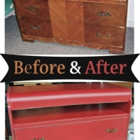 Before & After - Waterfall dresser repurposed into Barn Red media stand. From Facelift Furniture.