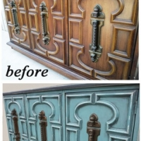 Before & After - Vintage cabinet in distressed Sea Blue with Black Glaze. From Facelift Furniture.
