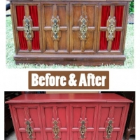 Before & After - Vintage Stereo Cabinet repurposed into Media Console with storage. From Facelift Furniture.
