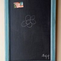 Chalkboard in distressed Sea Blue with Black Glaze. From Facelift Furniture's Chalkboards collection.