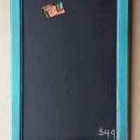 Chalkboard in distressed Turquoise with Black Glaze. From Facelift Furniture's Chalkboards collection.