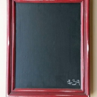 Chalkboard in distressed Barn Red with Black Glaze. From Facelift Furniture's Chalkboards collection.