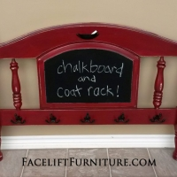 Chunky Twin headboard in distressed Chili Pepper Red with Black Glaze over white primer. Repurposed into chalk board and coat rack. From Facelift Furniture's Re-purposed Wall Pieces collection.