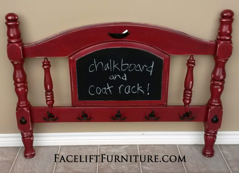 Chunky Twin Headboard In Distressed Chili Pepper Red With Black Glaze Over  White Primer. Repurposed