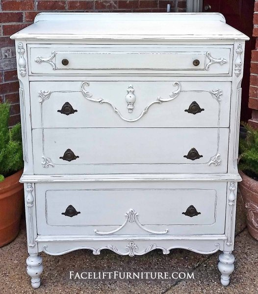 Large Ornate Antique Chest Of Drawers In Lightly Distressed Antiqued White With Espresso Glaze Four