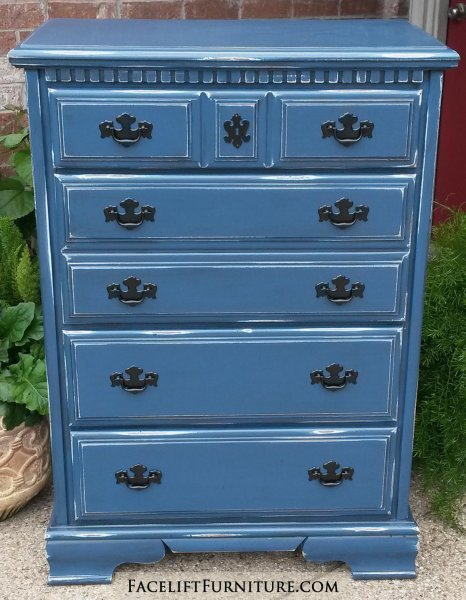 Chest Of Drawers In Denim Blue With Black Glaze Distressing Reveals White Primer And Original