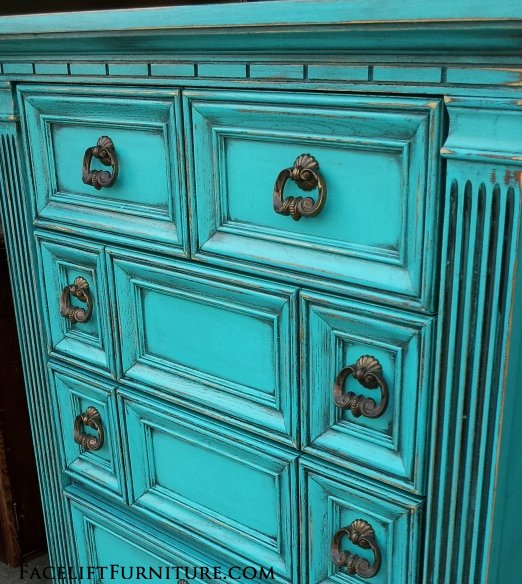 Chest of Drawers in distressed Turquoise, with heavy Black Glaze
