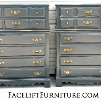 "Matching maple chests in Lowe's Valspar ""Smoke"" with Black Glaze. Distressed, and with original hardware. From Facelift Furniture's Chests of Drawers collection."