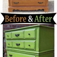 Lime Green Maple Chest Side - Before & After