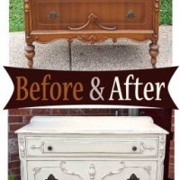 Ornate Chest Antiqued White - Before & After