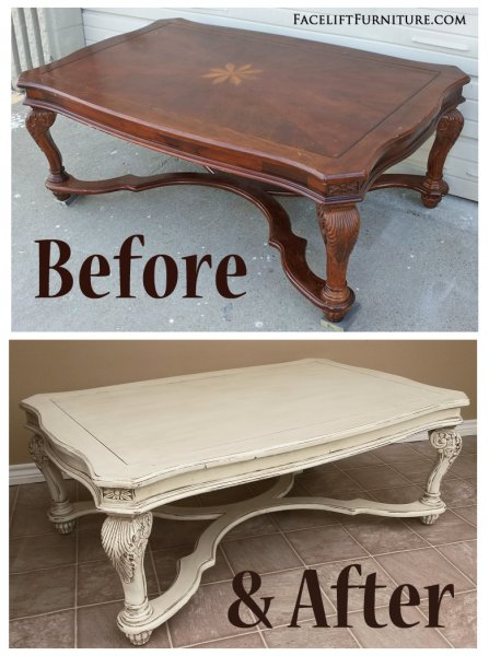 Before U0026 After   Ornate Coffee Table In Distressed Off White With Tobacco  Glaze. From