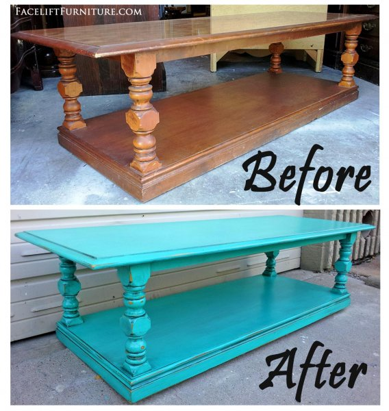 Turquoise Coffee Table Before After