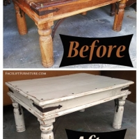 Before & After - Rustic Coffee Table in heavy distressed Antiqued White, with Espresso Glaze. From Facelift Furniture.
