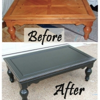 Chunky Black Coffee Table - Before & After