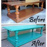 Turquoise Coffee Table - Before & After
