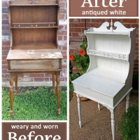 AntqWhiteDeskHutch-Before&After