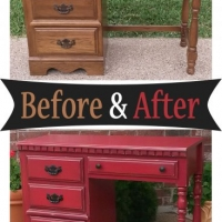 Barn Red Chunky Desk - Before & After