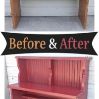 Barn Red Pine Desk - Before & After