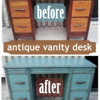 Sea Blue Antique Vanity Desk - Before & After