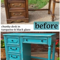 Before & After - Chunky desk in distressed Turquoise with Black Glaze. Vintage pulls painted Black. Facelift Furniture.