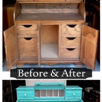 Turquoise Roll Top Desk - Before & After