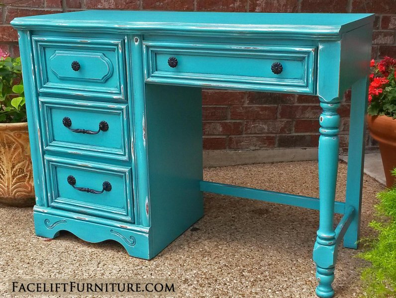 Chunky Desk in distressed Turquoise with Black Glaze. Original pulls and  knobs painted black. - Desks & Vanities - Painted, Glazed & Distressed - Facelift Furniture