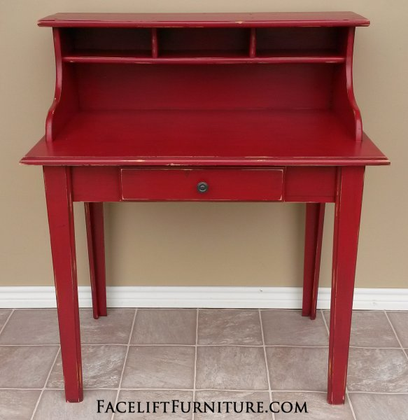 Charming Pine Secretary In Distressed Barn Red With Black Glaze. From  Facelift Furnitureu0027s Desk U0026