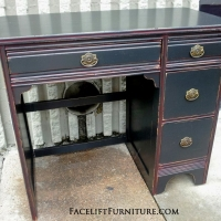 Black Desk with Red Glaze. From Facelift Furniture's Desk & Vanities collection.