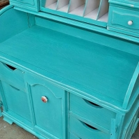 "Roll Top Desk in Turquoise with White Glaze. New knobs from Hobby Lobby. From Facelift Furniture's Desk & Vanities collection. <a href=""//www.faceliftfurniture.com/turquoise-roll-top-desk/"">Visit our blog to see the before & after photos of this desk!</a>"