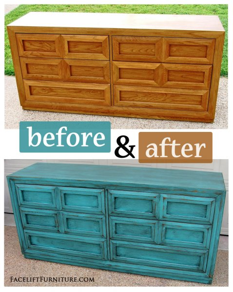 Before U0026 After   Dresser In Turquoise With Black Glaze. From Facelift  Furniture.