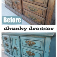 Before & After - Chunky Dresser in distressed Sea Blue with Black Glaze. Original vintage pulls.