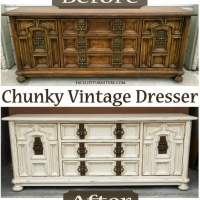 "Before & After - Chunky Vintage Dresser in distressed Off White with Tobacco Glaze. Original vintage pulls. <a href=""//www.faceliftfurniture.com/white-chunky-vintage-dresser/"">Read more about this dresser on our blog!</a>"