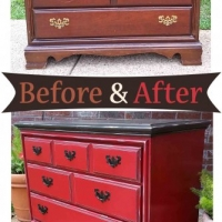 Dresser Barn Red & Dk Brown Side - Before & After