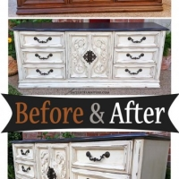 Dresser in Dk Brown & Off White - Before & After